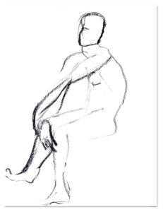 houtskool en potlood model tekening naar mannelijk naaktmodel