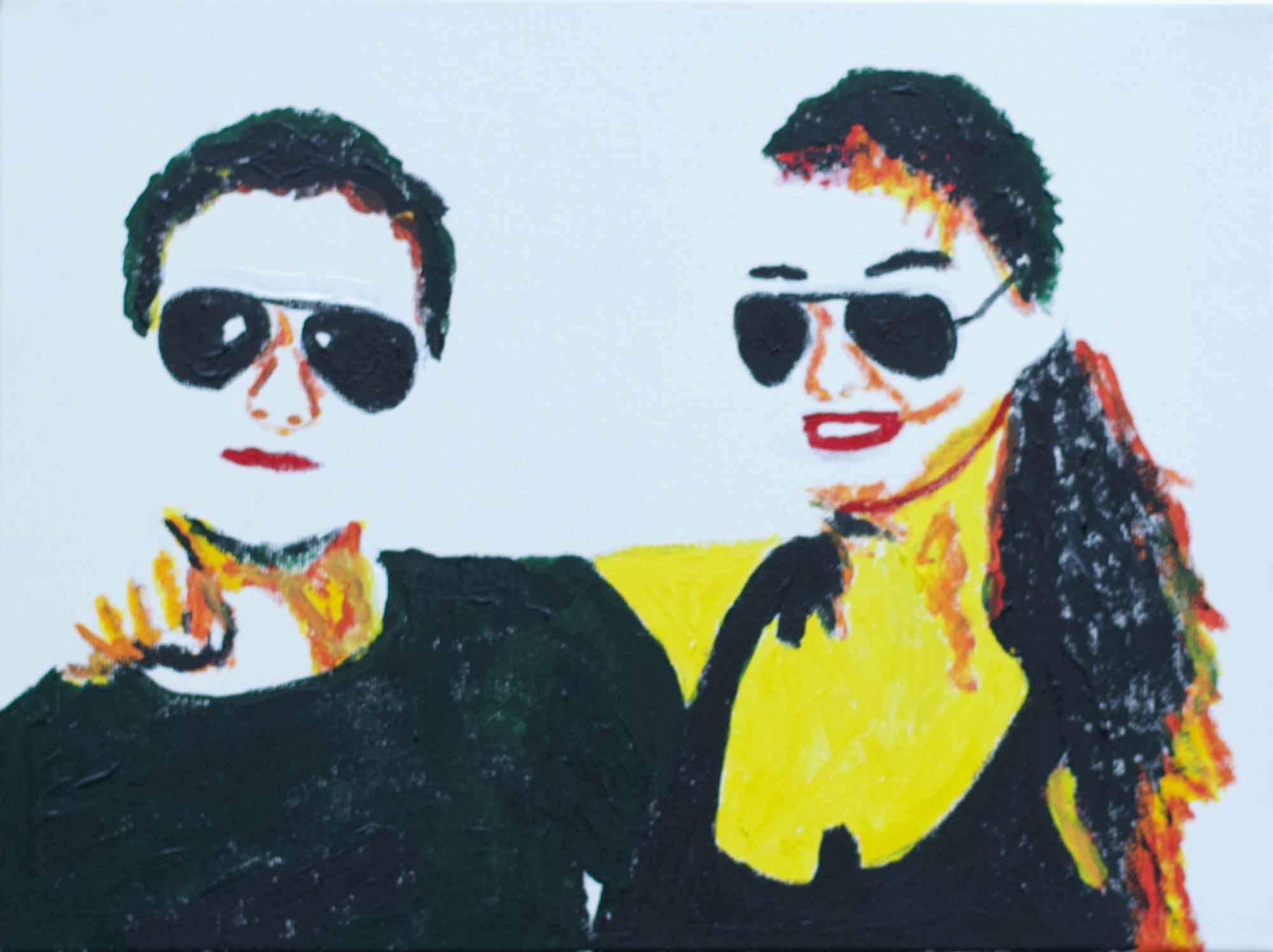 vriend en vriendin of broer en zus vereeuwigd in Andy Warhol Pop art stijl in rood, geel, wit en zwart