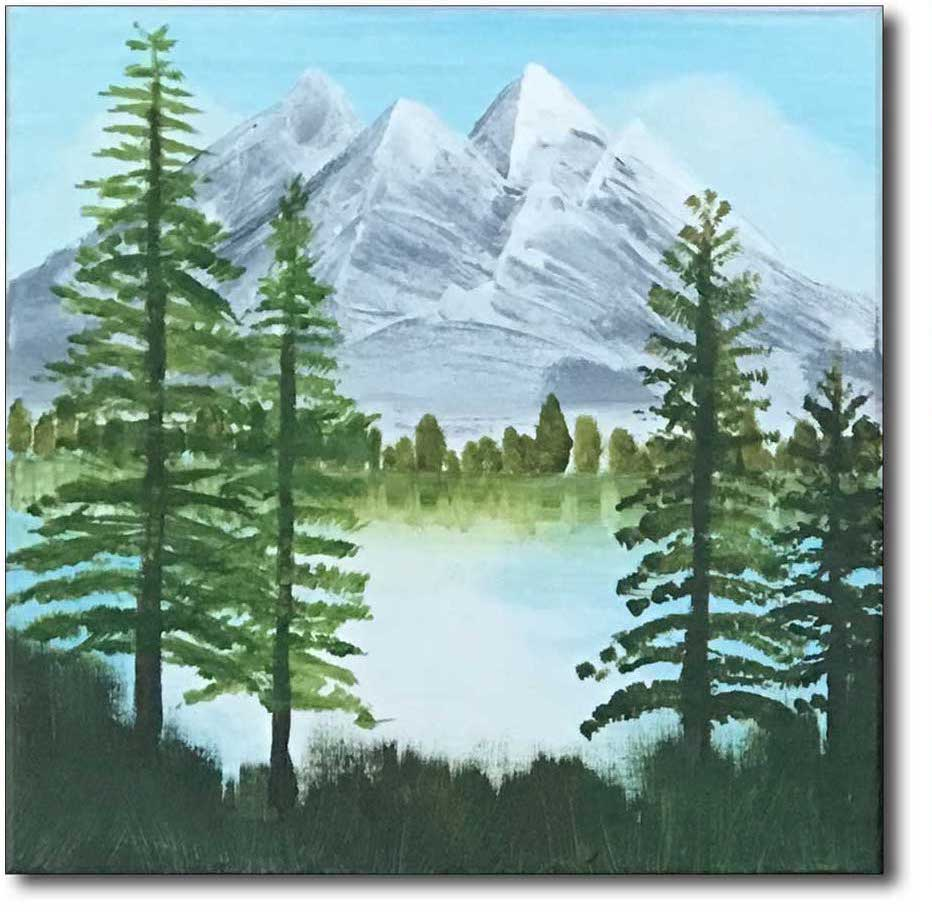 Voorbeeld schilderij voor een workshop Bob Ross met mystic mountains en happy little trees