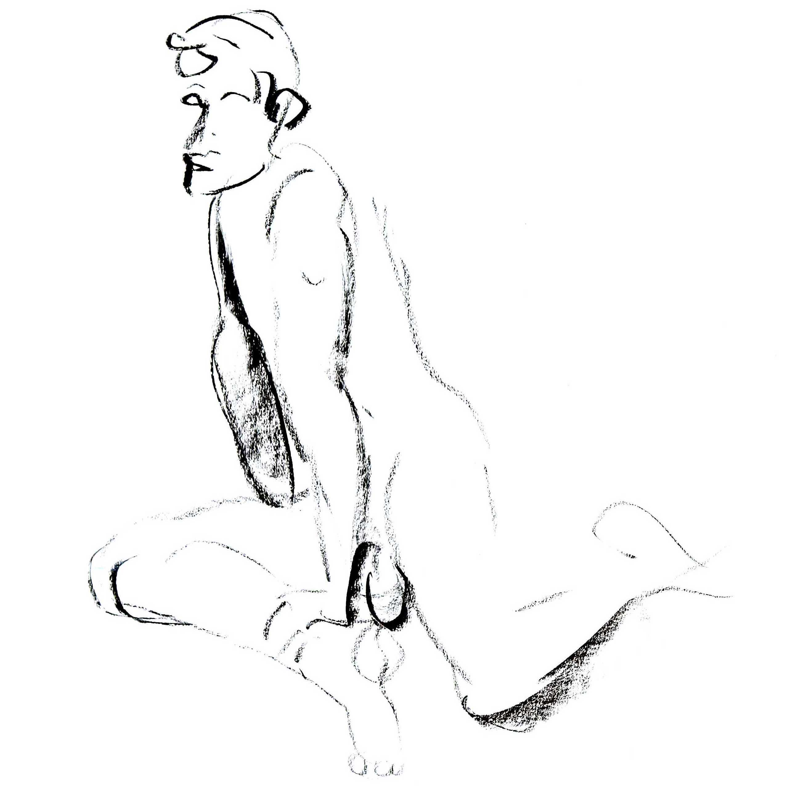Charcoal drawing of a male model resting on his right upper leg and left knee
