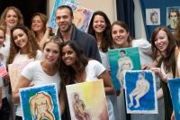 the colourful paintings, the hens and the nude model at the end of the hen party for a workshop life drawing in Amsterdam